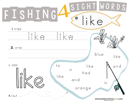 Fishing for Sight Words – Sight Words Tracing Worksheets for Kindergarten