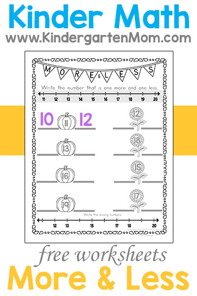 kindergarten math printables  kindergarten mom more or less kindergarten math sheets