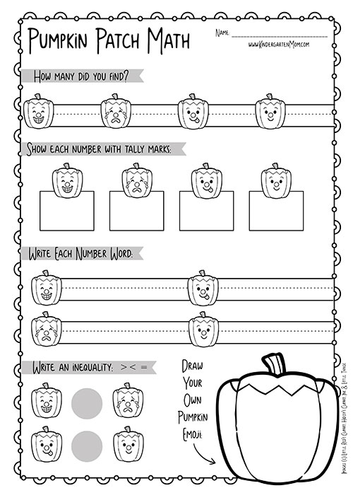 Pumpkin Themed Kindergarten Math Worksheets Mom. The Second Page Is A Followup Worksheet For Students To Report Their Number In Variety. Worksheet. Number Concepts Worksheets At Mspartners.co
