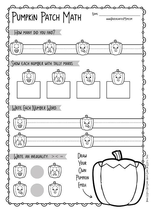 Pumpkin Themed Kindergarten Math Worksheets Kindergarten Mom