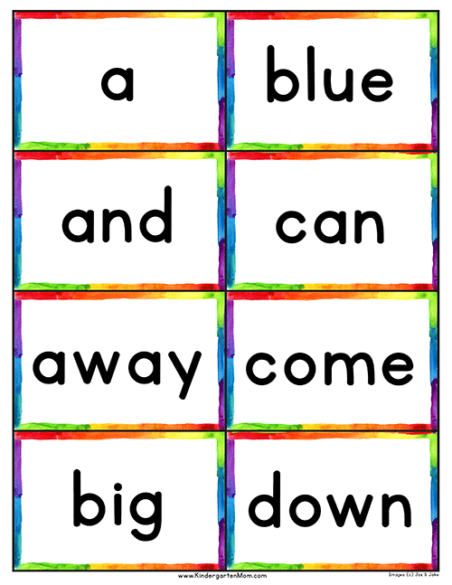 dolch 220 pre primer sight word flashcards