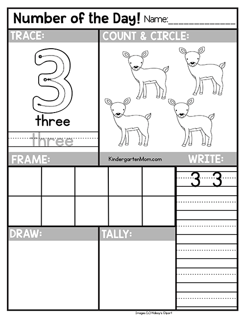 Free Number Of The Day Worksheets Kindergarten Mom