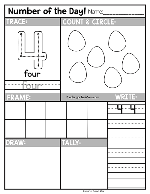 Free Number of the Day Worksheets - Kindergarten Mom