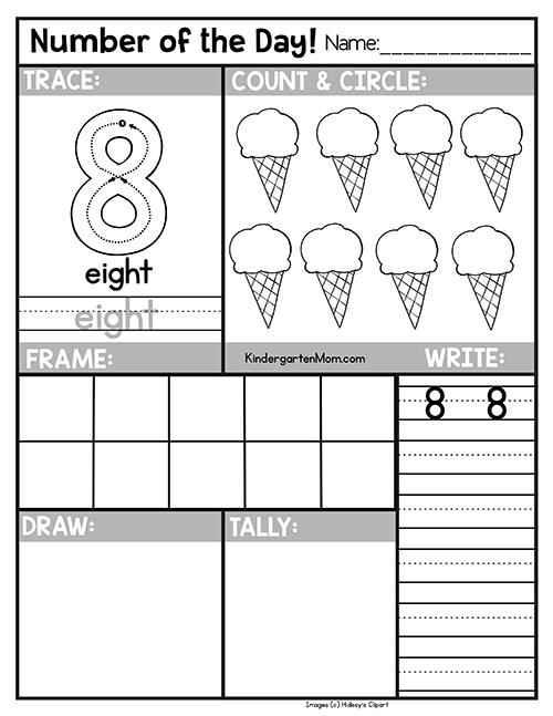 free number of the day worksheets kindergarten mom. Black Bedroom Furniture Sets. Home Design Ideas