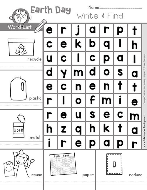 image relating to Earth Day Word Search Printable known as Entire world Working day Printables - Kindergarten Mother