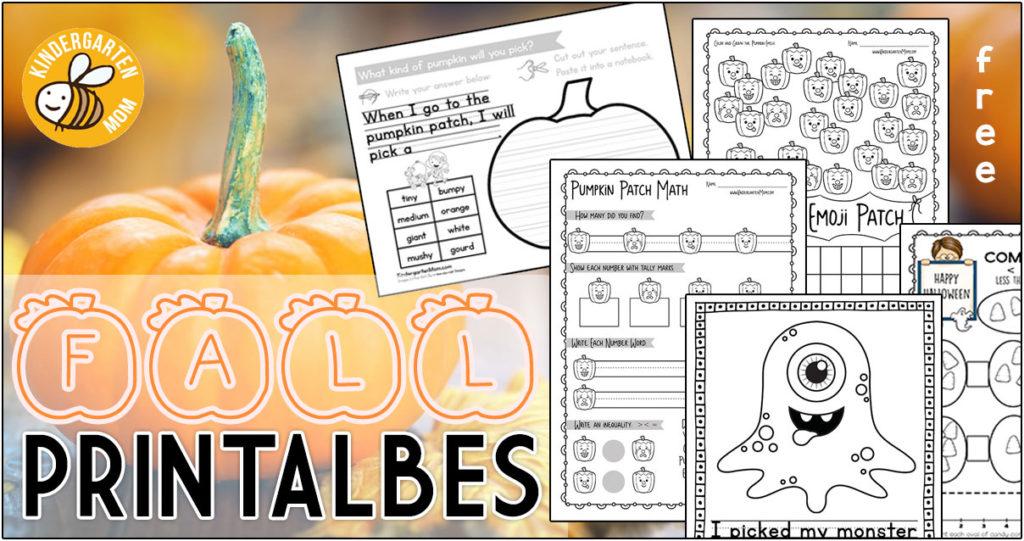 Free Fall Printables For Kindergarten - Kindergarten Mom