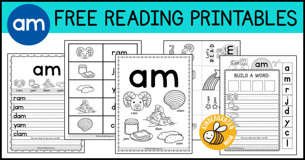 AM Word Family Worksheets - Kindergarten Mom