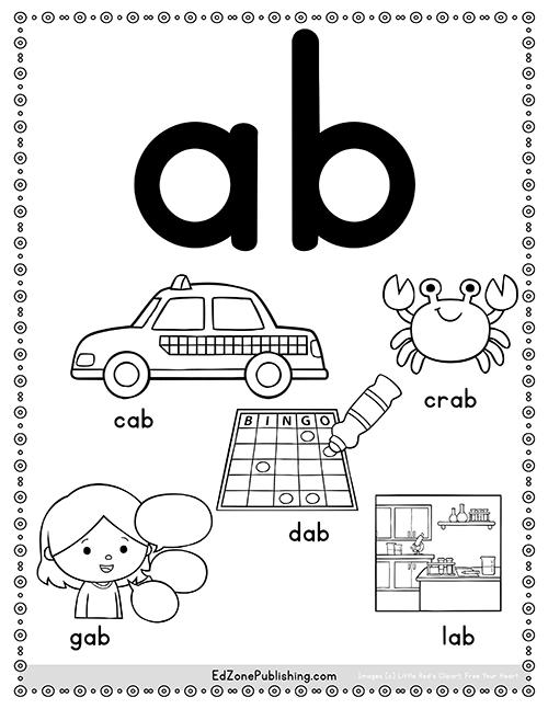 AB Word Family Worksheets - Kindergarten Mom