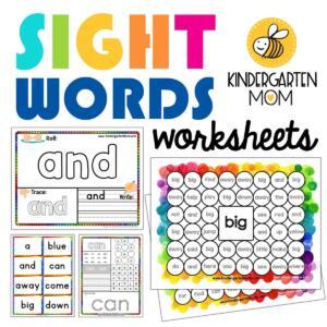 Kindergarten SightWords Worksheets
